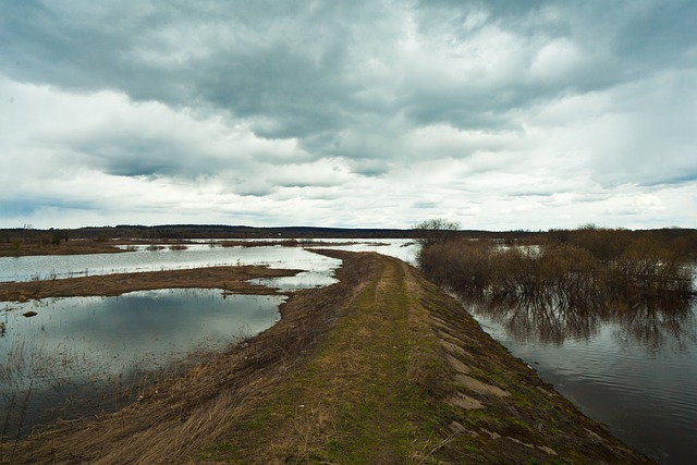 The flood threatens to flood the road to the village in the Amur region