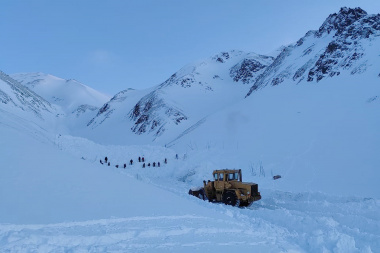 A snowboarder caught in an avalanche is being searched for on the ninth day in Chukotka