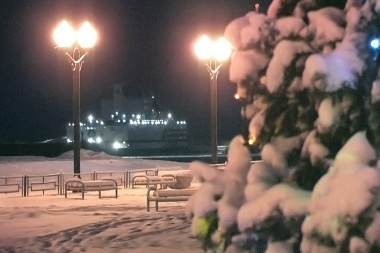 A floating nuclear power plant lit a Christmas tree in Pevek
