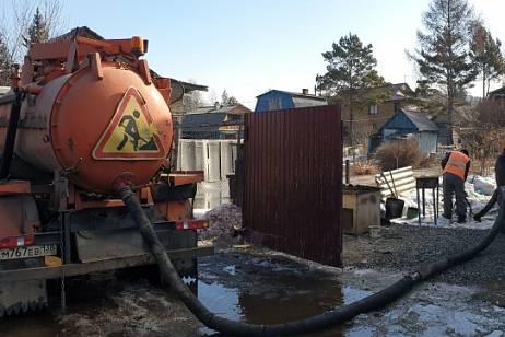 Melt water flooded areas in the Irkutsk region