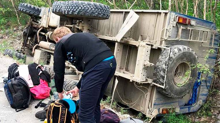 Tourists rolled over on a shift in Kamchatka