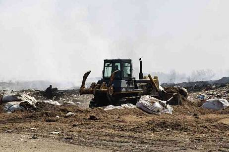 A landfill near the capital of the Jewish Autonomous Region is burning for over a day