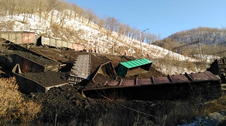 Coal cars went off the rails in the Amur Region