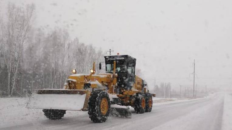 Amur region covered with snow